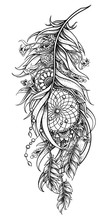 Graphic Feather With Dream Catcher And Mandalas