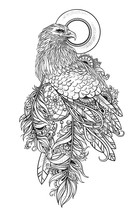 Stylized Bird Of Prey With Dream Catcher In Feathers