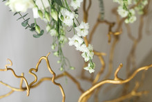 Decoration Of The Banquet Hall, Photo Zone And Wedding Arch With Eucalyptus Leaves, Hydrangea And Eustoma In The Wedding Hall. Golden Branches. Wedding Floristry