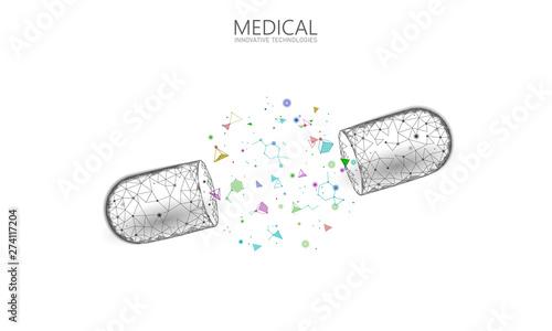 Opened drug capsule medicine business concept Obraz na płótnie