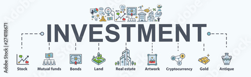 Photo Investment banner web icon for business and finance
