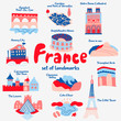 Set of attractions popular places of France