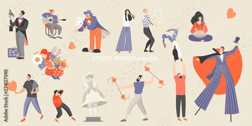 Cuadros en Lienzo Set of vector illustrations of various street performances