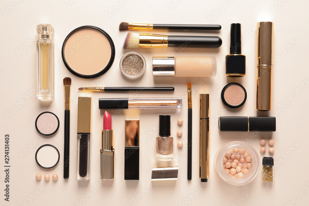 Fototapety, obrazy: Different luxury makeup products on color background, flat lay
