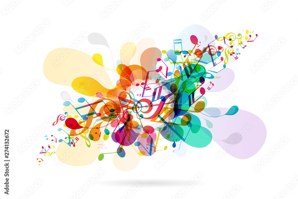 Abstract colored flower background with music tunes.
