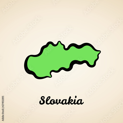 Fotografie, Obraz Slovakia - Outline Map
