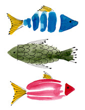 Hand Drawn Watercolor Sea Fish