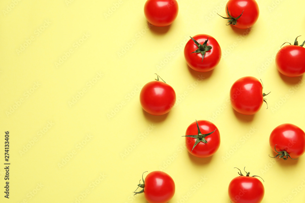 Fototapety, obrazy: Flat lay composition with cherry tomatoes on color background. Space for text