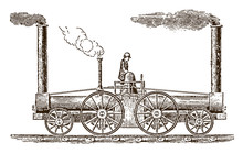 """Early Historic Eight-wheeled Locomotive """"South Carolina"""" With Three Chimneys From 1831. Illustration After An Engraving From The 19th Century"""