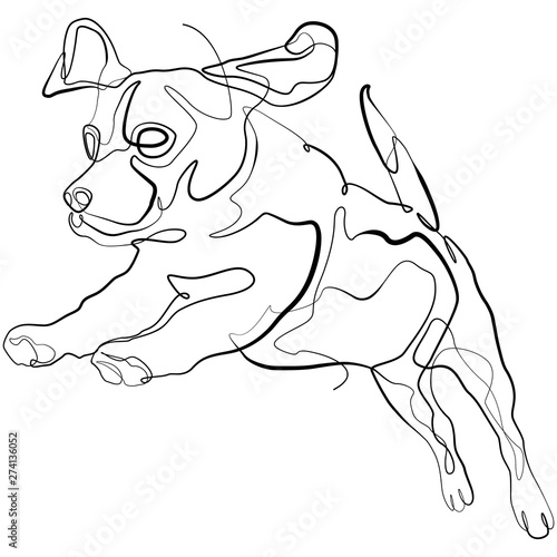 Tuinposter Doe het zelf Beagle Dog one line drawing. Dog Continuous line Sketch Vector