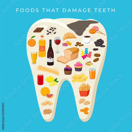Fotografija Bad Food that damages Teeth concept vector illustration in flat design