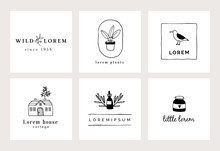 Set Of Hand Drawn Minimal Logo Templates. Food, Drink And Travel Concept. Business Branding Identity. Isolated Symbols. Simple And Elegant Icons Collection. Vector Illustrations. Retro Design.