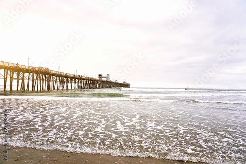 OCEANSIDE, CALIFORNIA - 1 JUNE 2019: Oceanside view and pier bridge playground Wallpaper Mural