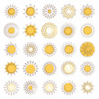 Line sun icons collection with decorative elements vector isolated on white background