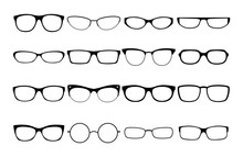 Vector Glasses Frames. Black Rim Glasses Vector Collection, Eyeglasses Frame Fashion Model Set, Sunglass Spectacles Silhouettes For Man And Woman