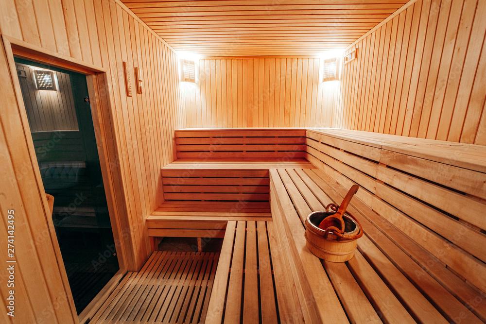 Fototapeta Interior View of Sauna Bath