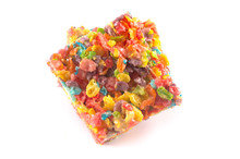 Fruity Cereal Marshmallow Treat Bars On A White Background
