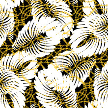 Abstract White Tropical Leaves With Golden Chains On A Dark Background
