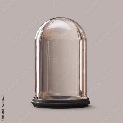 Leinwand Poster Empty glass dome on а dark background. Clipping path included.