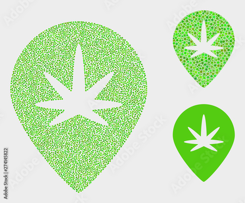 Pixelated and mosaic cannabis map marker icons Canvas Print
