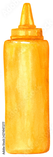 Fotografie, Obraz  Yellow plastic bottle with mustard, hand drawn watercolor illustration isolated