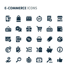 Ecommerce Vector Icon Set. Fillio Black Icon Series.