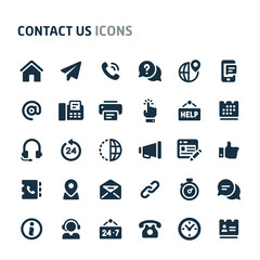 Contact Us Vector Icon Set. Fillio Black Icon Series.
