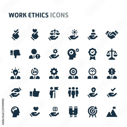 Fotografie, Obraz  Work Ethics Vector Icon Set. Fillio Black Icon Series.