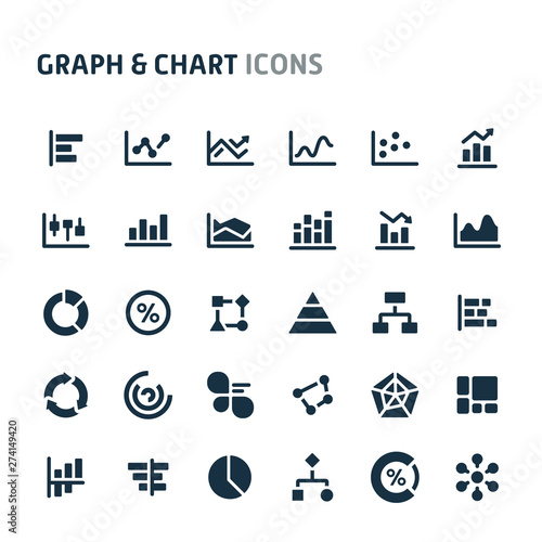 Fotomural  Graph & Chart Vector Icon Set. Fillio Black Icon Series.