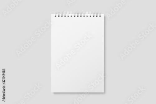 Cadres-photo bureau Spirale Blank realistic spiral bound notepad mockup on light grey background. High resolution.