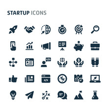 Startup Vector Icon Set. Fillio Black Icon Series.
