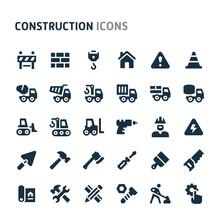 Construction Vector Icon Set. Fillio Black Icon Series.
