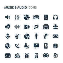 Music & Audio Vector Icon Set. Fillio Black Icon Series.