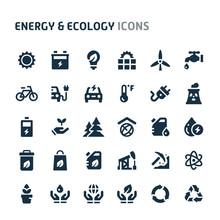 Energy & Ecology Vector Icon Set. Fillio Black Icon Series.