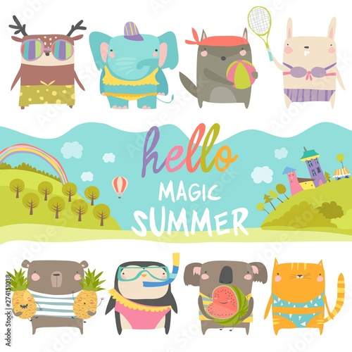 Set of cute animals with summer theme on white background