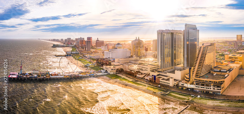 Late afternoon aerial panorama of Atlantic city along the boardwalk Wallpaper Mural