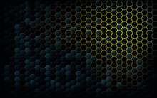 Abstract Black Texture Hexagon Background. Yellow Light Gradient Color.