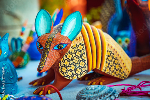 Stampa su Tela Alebrije, trancelate; Mexical art craft in Oaxaca