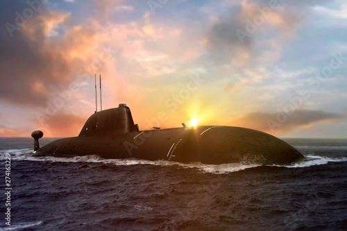 Canvas Print Naval submarine at sea surface during sunset