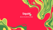 Abstract Liquid Background, In Warm Yellow And Green Ink On Red