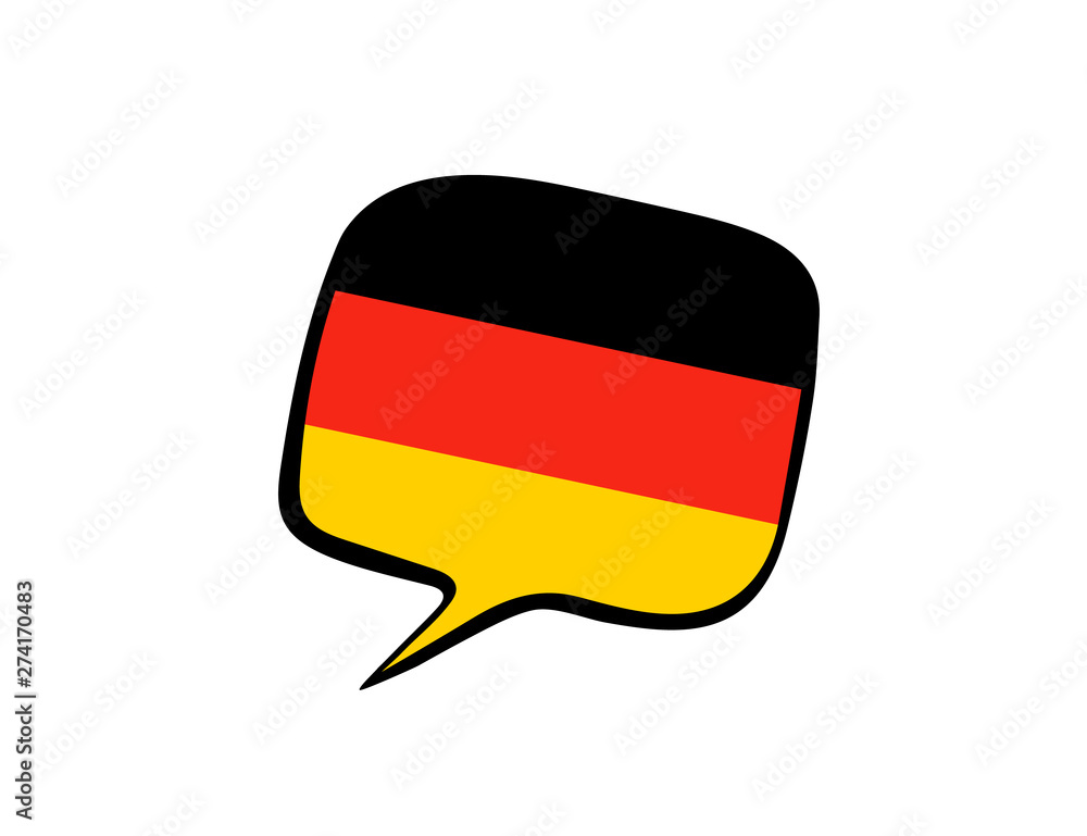 Fototapeta Speech bubble with the flag of Germany on the white background. Vector illustration
