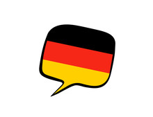 Speech Bubble With The Flag Of Germany On The White Background. Vector Illustration