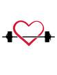 canvas print picture - herz liebe I love hantel gewicht heben schwitzen trainieren bodybuilder stark muskeln cool kerl fitness studio stemmen pumpen sexy körper clipart