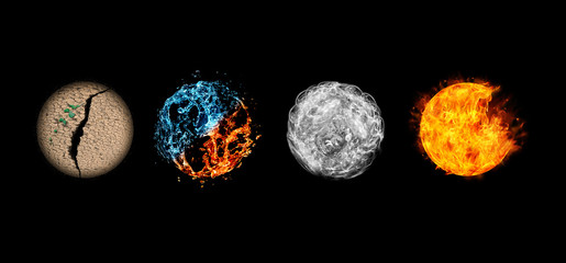 Four elements isolated on black.