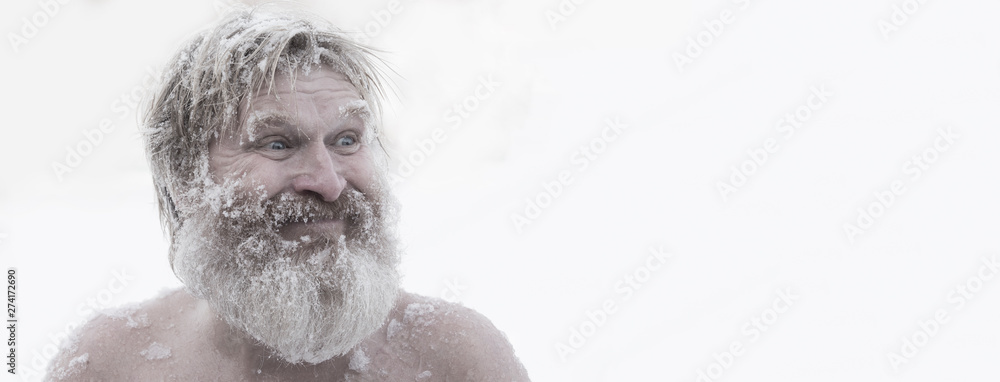 Fototapety, obrazy: Bearded man, after bathing in the snow