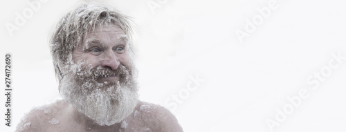Bearded man, after bathing in the snow Canvas Print