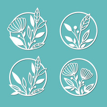 Round Panels Decorated With Floral Patterns. A Set Of Decorative Elements For Cutting Paper, Laser Or Plotter.