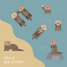 Various Acts Of The Sea Otter. Flat Design Style Minimal Vector Illustration.