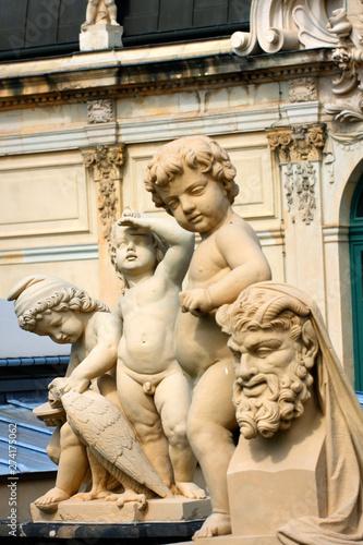 Richly sculptured Rampart Pavilion. Zwinger Palace (architect Matthaus Poppelmann) - royal palace 17 century in Dresden,