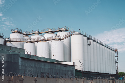 Foto op Plexiglas Stadion Agricultural silos. Storage and drying of grains, wheat, corn, soy, sunflower. Industrial building exterior. Big metallic silver containers close-up. Background of agricultural tanks with copy space.